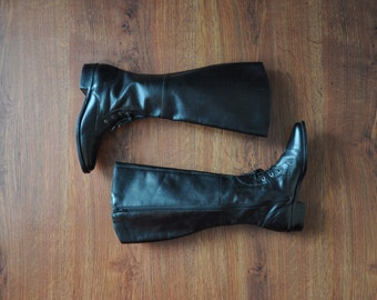 tall black leather boots / 1980s black riding boots / knee high equestrian boots 7