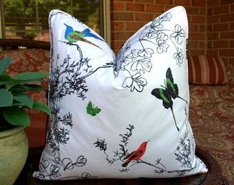 """One or Both Sides - ONE Schumacher Birds and Butterflies Pillow Cover Corded/knife-edge/1/4"""" flange"""