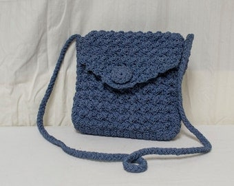 Blue knit purse,bag,Teal Blue, Knit ,Shoulder Bag