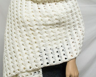 Knit shawl, Knit Wrap ,Off White, Fringed, Scarf