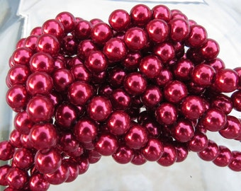 6mm Cranberry Colored Glass Pearl Strand 16in. (i134)