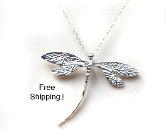 FREE SHIPPING in USA / Sterling Silver Dragonfly necklace/ dragonfly pendant