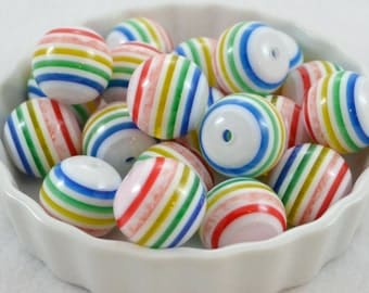 20mm Chunky Resin Striped Beads 10ct - Imperfect Discount, White Rainbow Striped, Gumball Beads, Round