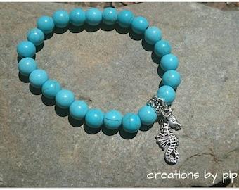 Turquoise Seahorse Charm Bracelet