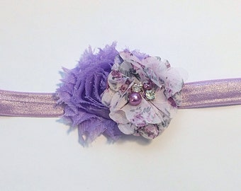 Lavender and Floral Headband, Purple headband, Lavender Headband, lavender Floral Headband, Flower Girl Headband, Birthday Headband