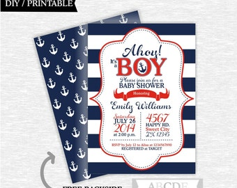 Navy, Red Baby Shower invitation Nautical baby Shower DIY Printable (PDNMO106)