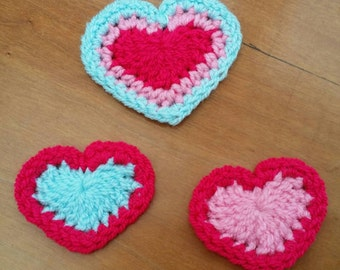 Crochet Heart Appliques Patches Set of 3 Pink Blue