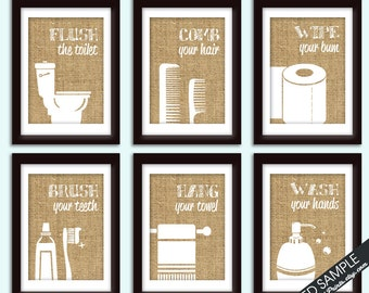 Funny Bathroom Prints Set Of 6 Art Prints Featured In Burlap Customizable