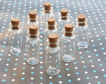 20 Mini glass bottles with corks 12x31mm