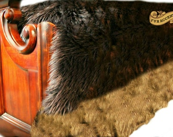 Luxury Faux Fur Bedspread - Sable Brown Bear - Beaver Center With Golden Brown Coyote Fur Border
