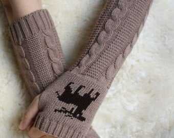 Brown  Long Hand-knitted  Gloves  Wrist Warmers  Brown mittens