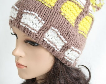Blending knitted hat  Women Teens Accessories  Fall Winter Fashion  Chunky Beret  302976-800(22#)