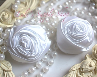 """2"""" Large Satin Ribbon Roses - Set of Two - Rolled Rosettes - White Satin Rolled Rosettes - Large Satin Roses - White Satin Flowers"""