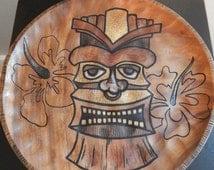 Hanging Hawaiian Tiki Design on a Wood Canvas