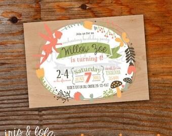 Woodland Fairies Birthday Digital Printable Invitation