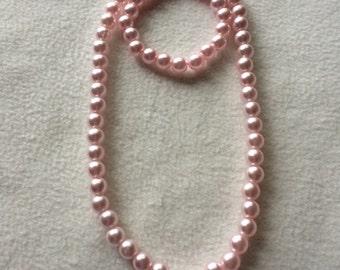 Plastic Pearl Kids' Necklace & Bracelet Sets- Pink or White