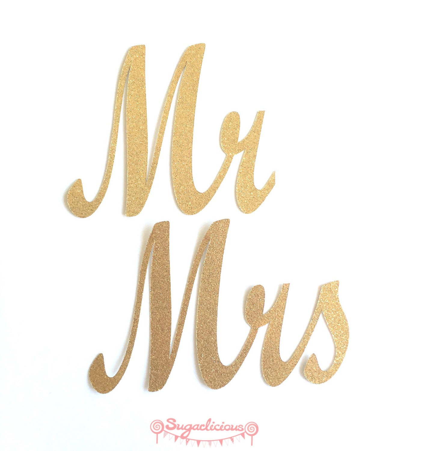 Mr Mrs Gold Glitter Chair Signs Wedding Mr Amp Mrs Word Bunting
