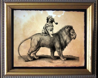 Pug Riding Lion - Vintage Collage Art Print on Tea Stained Paper - Vintage Art Print - Vintage Paper