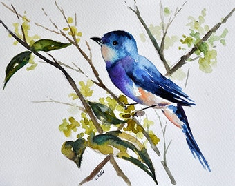 ORIGINAL Watercolor Painting, Blue Bird On A Branch, Green Blue 7x10 Inch