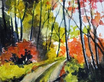 ORIGINAL Watercolor Landscape Painting, Autumn Forest Landscape 4x6 inch