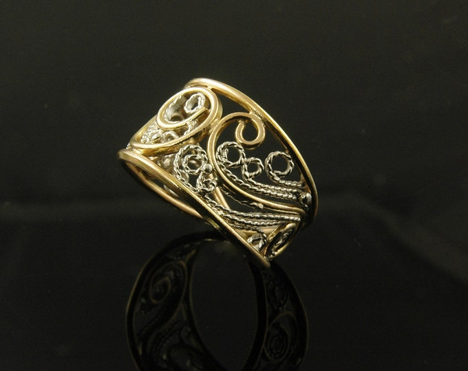 Featured listing image: Nordic filigree gold and silver ring