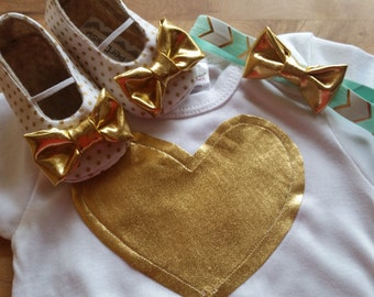 HEART OF GOLD Girl Shoe /Headband/ Onepiece Outfit - Gold