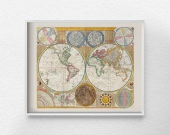 Old World Map Print, Antique World Map, Vintage Reproduction World Map, Old World Map, World Map Art, Travel Decor, Office Decor, 0144