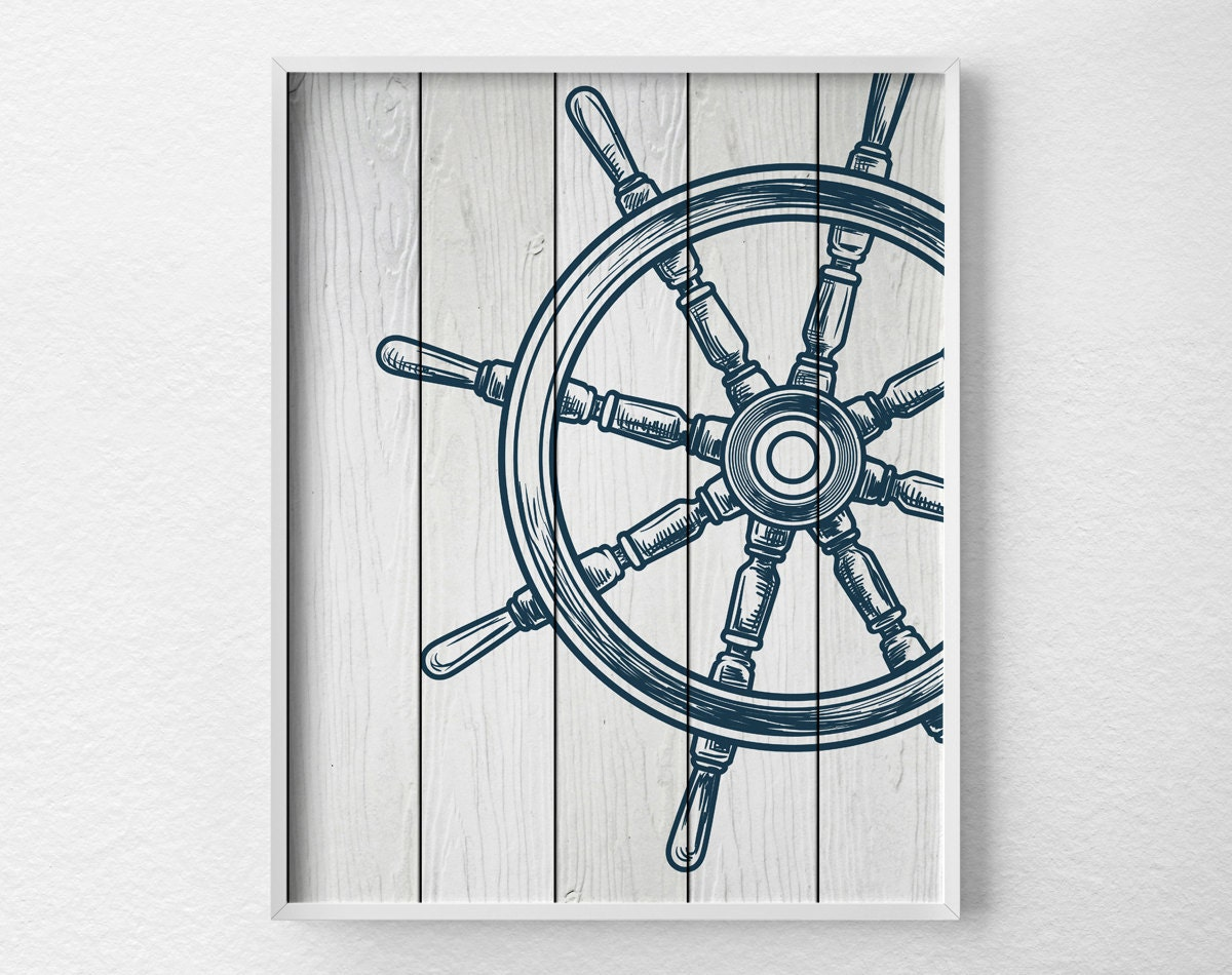 Nautical wheel decor nautical bathroom art nautical print - Nautical decor bathroom ...