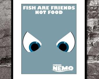 Chum (Fish are Friends) - Finding Nemo - Disney Pixar Inspired - Movie Art Poster