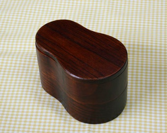 Japanese Bento Lunch Box Lacquer 2 Tier Box Natural Wood Gourd Shaped