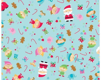 Riley Blake - Santa's Workshop - Blue Background Main by Doodlebug Design - Cotton Fabric