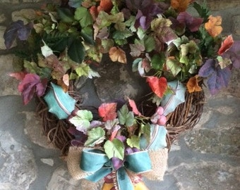 Christmas Door Wreath with Autumn Leaves, Wooden Holly and Bell