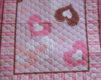 Heart quilt - Pink and brown baby quilt / toddler quilt
