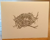 Bird's nest linocut block print card