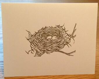 Bird's nest linocut block print card