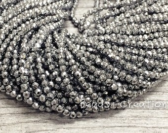 "75% off, 3mm,4mm, Hematite bead Gems Faceted Round, Silver Coated, Gold Coated,Gunmetal Gemstone Beads, 15.5"" Full Strand, AA Grade"