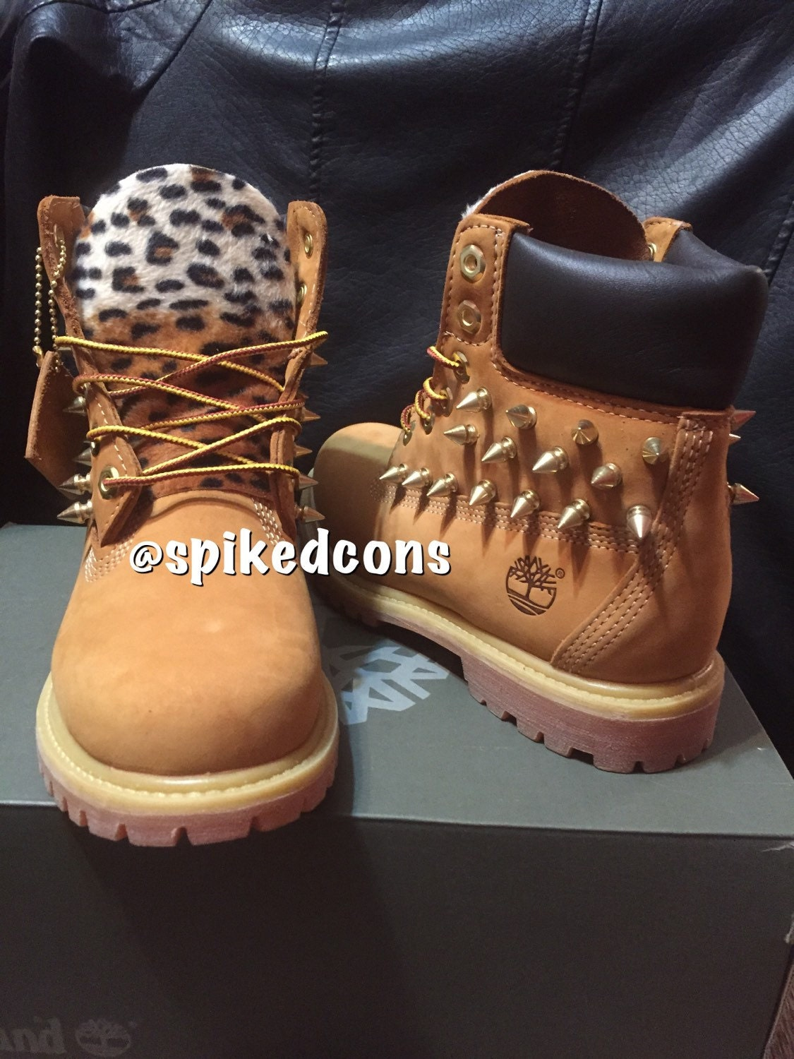 youth leopard spiked or no spikes timberlands sizes