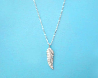 Leaf, Feather, All, Sterlingsilver, Simple, Modern, Cute, Dainty, Necklace, For, Her, Gift, Leaf, Feather, Necklace, Silver, Necklace