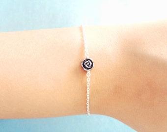 Belle, Rose, Vintage, Style, Silver, Bracelet, Minimal, Dainty, Petit, Rose, Flower, Jewelry, Birthday, Best friends, Sister, Gift, Jewelry