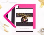 Pink, black and gold Bridal shower invitations - Pack of ten
