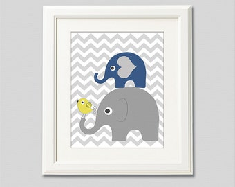 Navy, grey and yellow nursery Art Print - 8x10 - Children wall art, Baby boy Room Decor, chevron, bird, baby boy wall decor  - UNFRAMED