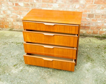 Retro Vintage Mid-Century Teak Chest of Drawers by Austinsuite