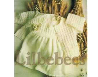 Baby knitting pattern PDF Download - Knitted Jacket & Pinafore size 3 month - 12 months