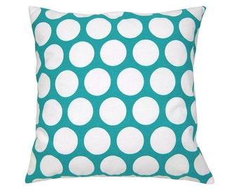 Cushion cover points DANDIE turquoise and white 40 x 40 cm