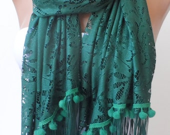 Teal green Pompom lace scarf Summer scarf Elegance scarf LACE scarf Women scarf Pompom scarf Dark Green scarf Feminine Trend Fringe Scarf