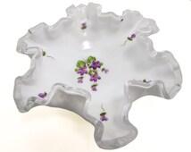 Fenton Violets in the Snow Hand Painted Silver Crest Milk Glass Bon Bon Ruffle Dish Circa 1960