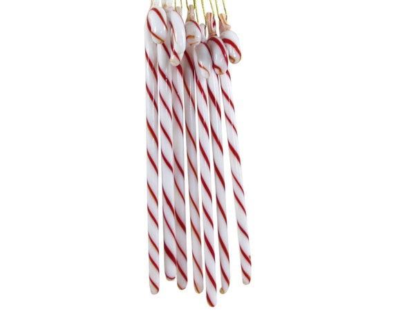 Red white glass candy cane christmas tree ornament