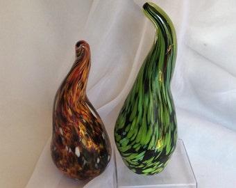 Hand Blown Glass Art Gourd Sculptures.  Blown Glass Gourds in Red, Green.