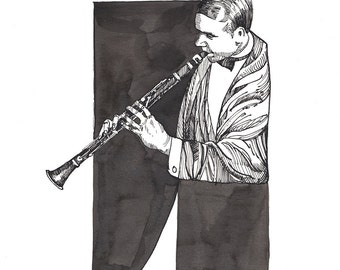 Limited Edition Print of New Orleans Jazz Legend, Leon Roppolo