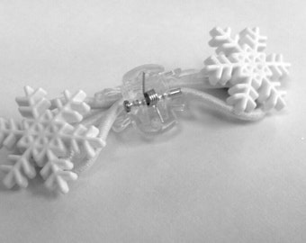 Button snowflake ponytail hair elastics, winter theme birthday party favor, Christmas stocking stuffer, package tie on - handmade gift